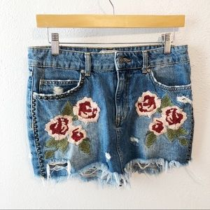 Free People floral embroidered studded mini skirt